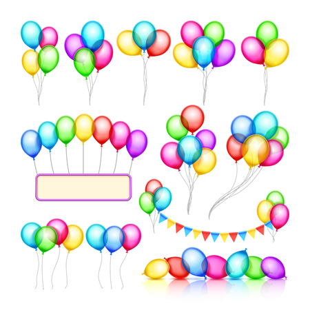 helium: Glossy celebration party balloon groups of decorations vector set. Color air balloon for holiday birthday event, illustration of helium balloon