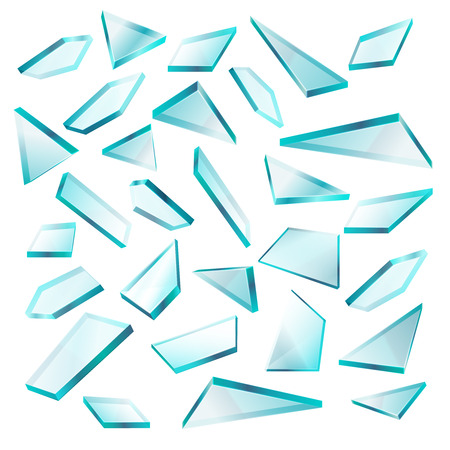 shards: Broken glass shards isolated on white vector set. Transparent of sharp fragment glass, illustration of broken shape glass Illustration