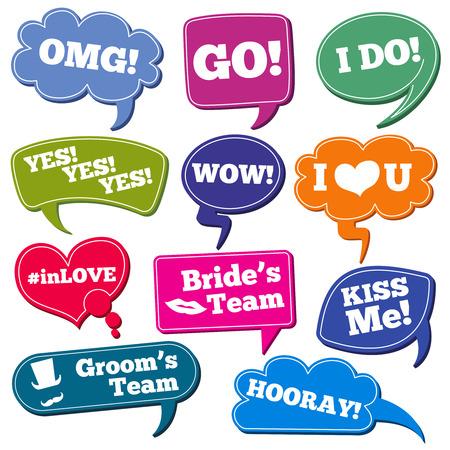 Bruiloft zinnen in spraakbellen vector foto rekwisieten set. Kleur speech bubbles met zinnen voor bruiloft illustratie Stock Illustratie