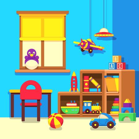 train table: Preschool kindergarten classroom with toys cartoon vector illustration. Room with toys in kindergarden, interior of play room illustration
