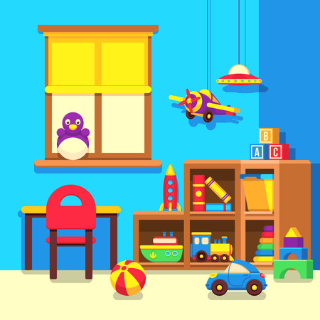 Preschool kindergarten classroom with toys cartoon vector illustration. Room with toys in kindergarden, interior of play room illustration