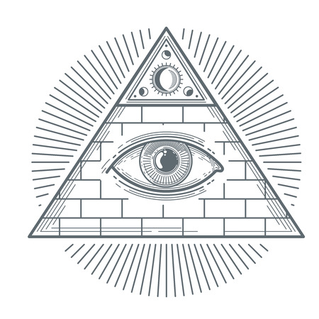 freemasonry: Mystical occult sign with freemasonry eye symbol vector illustration. Freemasonry mystic sign, pyramid with eye