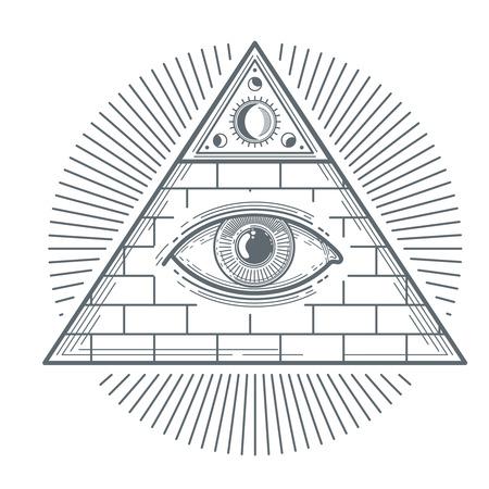 Mystical occult sign with freemasonry eye symbol vector illustration. Freemasonry mystic sign, pyramid with eye