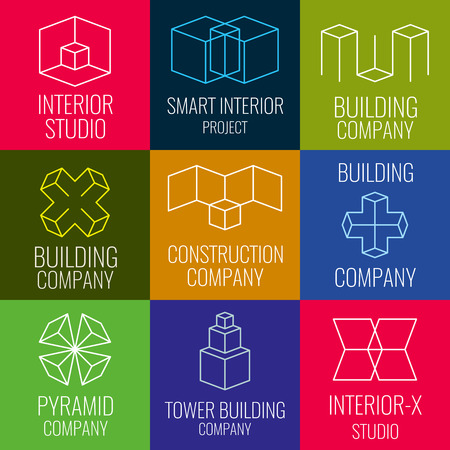 architectural firm: Architectural firm, interior design studios, construction company line vector logos with 3D isometric cubes structure. Set of logo for building company, illustration of structure logo