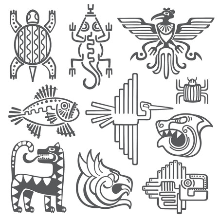 ancient civilization: Historic aztec, inca vector symbols, mayan temple pattern, native american culture signs. Tattoo ancient tribes in form of abstract animals illustration Illustration