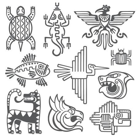 Storici aztechi, simboli vettoriali inca, modello del tempio mayano, segni naturali di cultura americana. Tribù antiche tatuaggio in forma di illustrazione di animali astratti
