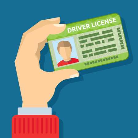 Hand holding id card, car driving licence vector illustration. Driver with license to driving car Çizim