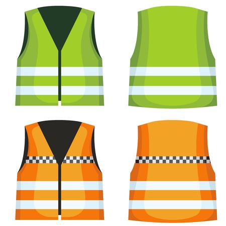 Safety road vest, waistcoat with reflective stripes vector set. Vest jacket fot work on road illustration