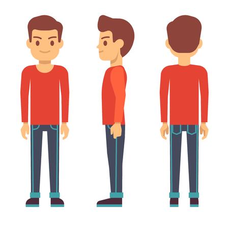 Joven de pie, de carácter de niño delante, hacia atrás, la vista lateral en el conjunto de vectores de ropa casual. soporte lateral y frontal chico, ilustración del tipo de dibujos animados