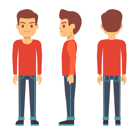 Standing young man, boy character in front, back, side view in casual clothes vector set. Guy stand side and front, illustration of cartoon guy Иллюстрация