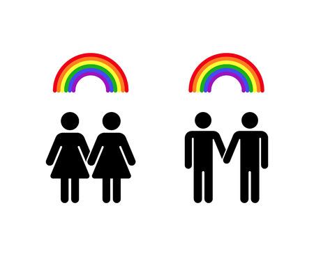 homosexual: Vector rainbow gay homosexual love and lesbian romantic emblem illustration