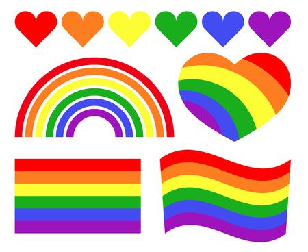 homosexual: Vector gay LGBT rainbow symbols. Homosexual pride banner icon illustration