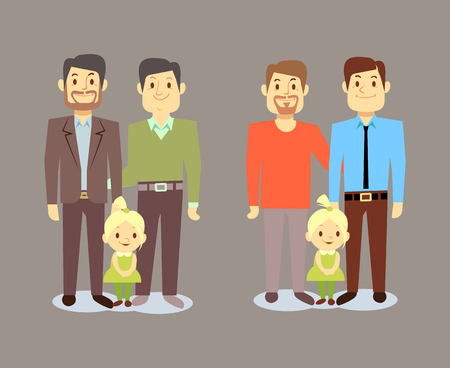 nontraditional: Happy gay LGBT men families with children. Gay family with child. Vector illustration Illustration