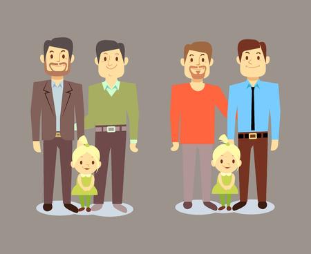 愉快的lgbt男人家庭与孩子。与孩子的同性恋家庭。矢量图