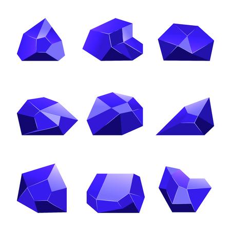Blauwe vectorkristallen witte achtergrond voor mobiele games apps. Reeks van beeldverhaalkristal aan guibloem