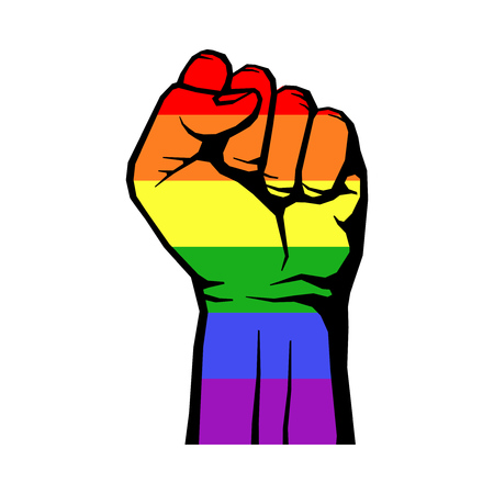 Fight for gay LGBT rights rainbow fist white background. struggle for rights. Vector illustration