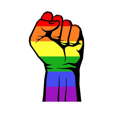 Strijd voor homo LGBT rechten regenboog vuist witte achtergrond. strijd voor rechten. Vector illustratie