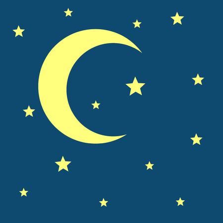 palate: Vector crescent moon and stars night icon. Nature moonlight illustration Stock Photo