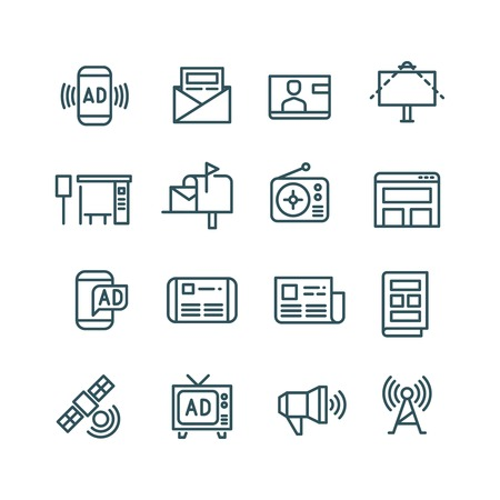media distribution: Advertising, media advertise, advertisement internet channels vector icons. Distribution of advertising with use radio, internet and newspaper illustration