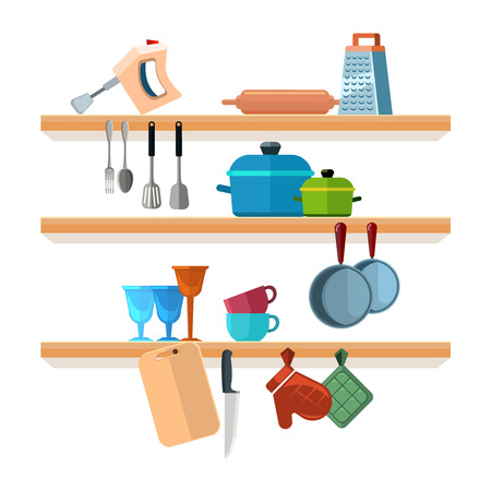 Kitchen shelves with cooking tools and hanging pots vector illustration. Interior of kitchen shelf, utensil and equipment for kitchen