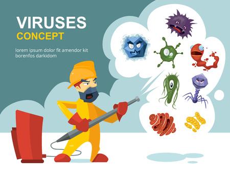 Anti gérmenes, microbios vector concepto de saneamiento. Saneamiento y lavado más limpio, ilustración de la prevención de infecciones y microbios