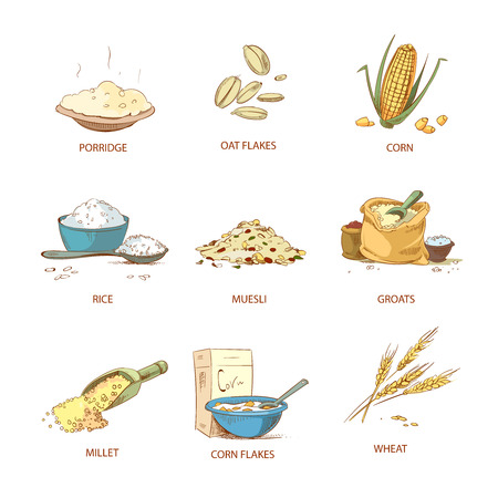 corn flakes: Cartoon ripe ears of cereals, countryside plants vector set. Natural grain heap of cereal, illustration of nutrient cereals Illustration