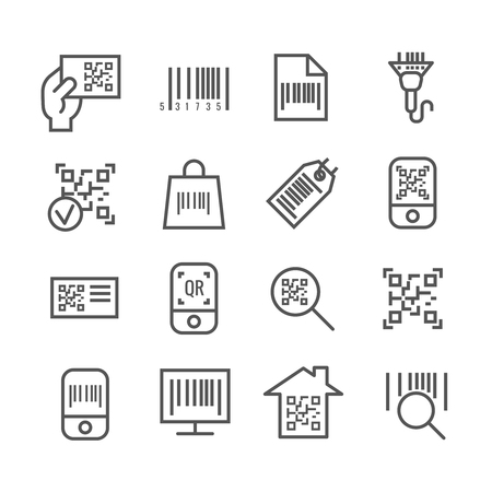 qrcode: Bar and qr code scanning vector thin line icons. Bar code for scan price information, digital code for identification illustration