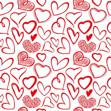 Amor transparente vector patrón de corazón. la cosecha de fondo sin fisuras con corazones de dibujo, ilustración de corazón dibujo artístico