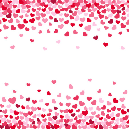greeting card background: Vector white background decorating of falling valentine hearts confetti. Greeting card design for those who in love and for wedding invitation