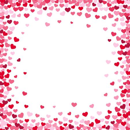 Schöner Herzrahmen mit Konfettiherzen. Liebesvektorgrenze auf weißem Hintergrund