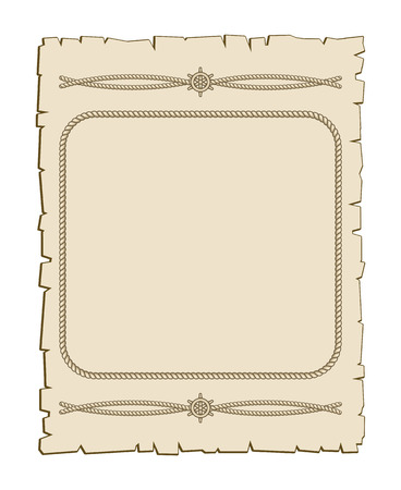Nautical vector frame with ropes brown parchment. Vintage paper illustration