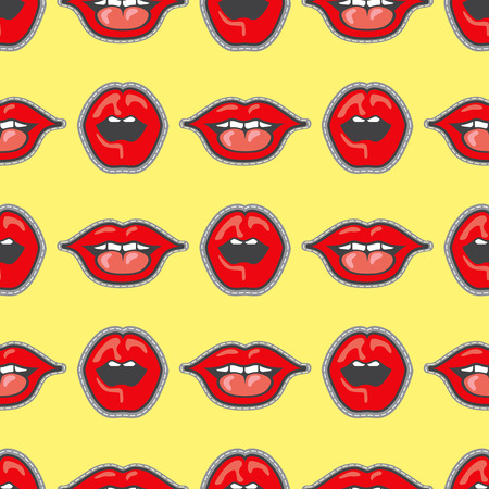 dope: Bright lips patch vector seamless pattern. Cartoon lips girl illustration Illustration