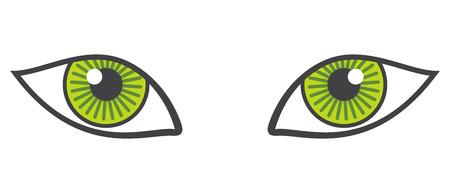green eyes: Vector green eyes isolated over white. Animal eyes looking illustration Illustration