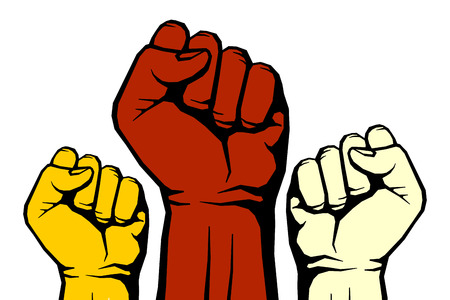 Protest, rebel vector revolution art poster. Power revolution for freedom illustration Illustration
