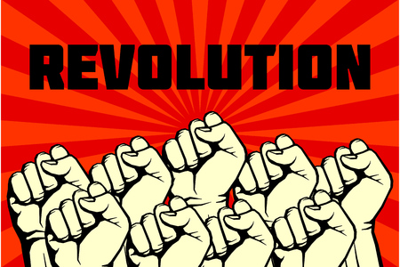 Protest, rebel vector revolution art poster. Banner revolution freedom illustration Illustration