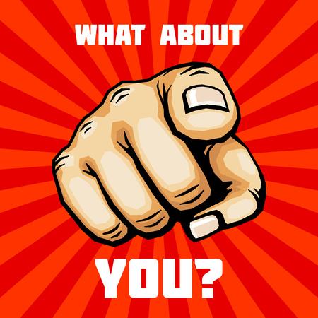 Hoe zit het met je hand met een vinger wijzende vector. Concept banner afbeelding Stock Illustratie