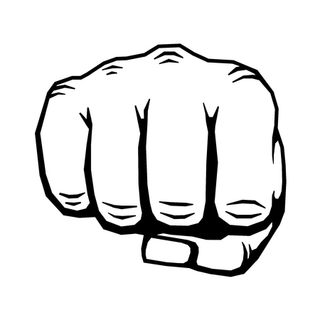 uprising: Punching hand with clenched fist vector. Human clenched fist illustration Illustration