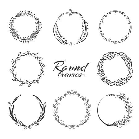 laurel leaf: Branch with leaves, laurel wreath, floral circle frames for decoration. hand drawn collection. Frame of floral wreath, collection of laurel wreath with leaf illustration