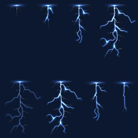 Lightning, thunderbolt fx animation frames illustration. Electricity thunderbolt danger, light electric powerful thunder bolt Illustration