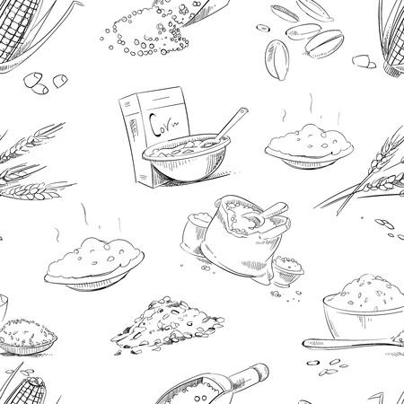 Biologische boerderij granen en granen, tarwe en gerst, rogge of haver, rijst naadloos patroon. Achtergrond met doodle granen, illustratie van de boerderij granen