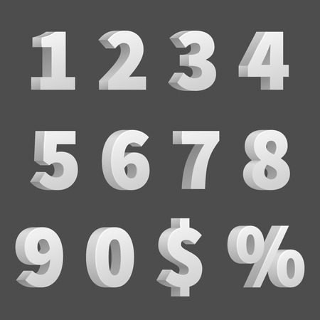 3D numbers and symbols. Three-dimensional numbers and finance signs, illustration of order numbers figure