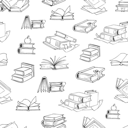 a literary sketch: Doodle library book seamless pattern. Background with book for education, illustration of school books illustration