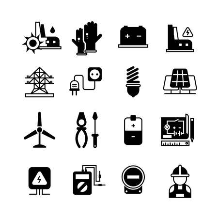 Electric power plant, electricity, electronic tools icons. Electric industrial signs set, illustration of black electric transformer silhouette Illustration