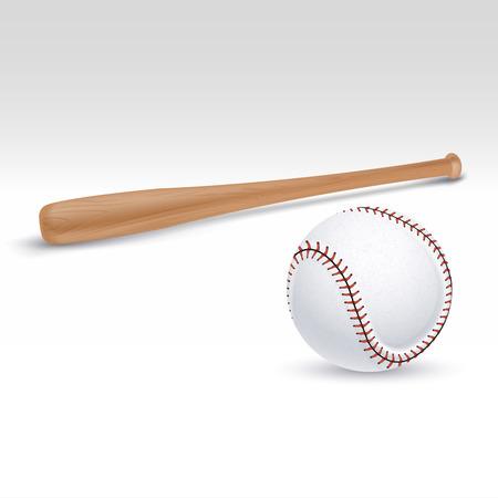 Illustrazione della mazza da baseball e della palla. Accessori per il gioco di baseball, mazza di legno per giocare a baseball Vettoriali
