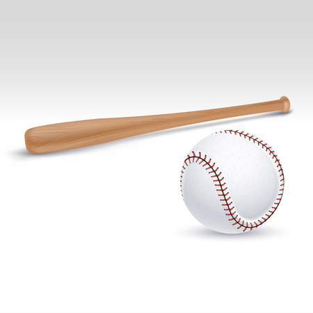 Baseball bat and ball illustration. Accessories for baseball game, wooden bat for play baseball Illustration
