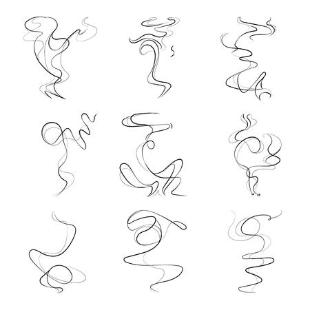 Rook spiraal lijnen, het roken geur, geur set. Aroma trail stoom illustratie op een witte achtergrond