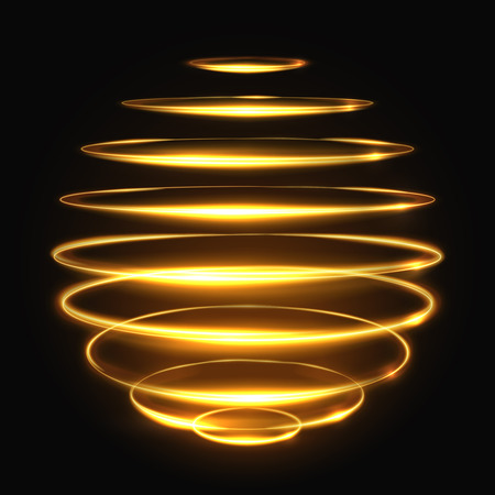 Gold circle light tracing effect, glowing magic 3d sphere illustration. Glowing magic bright neon, effect glowing energy element