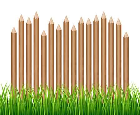 Rural wooden fence, palisade in green grass vector illustration. Garden wood farm fence