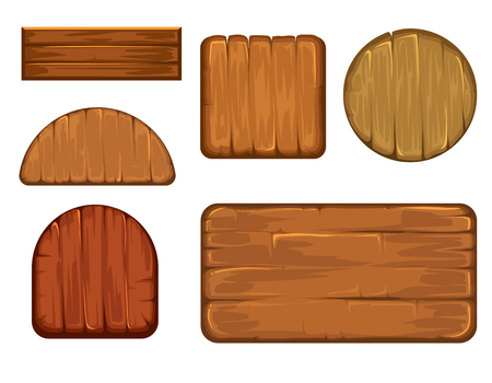 plywood: Wooden retro labels vector set. Different shapes of wood sign board. Plank frame and timbered board vector illustration