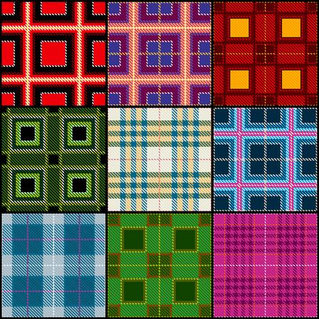 Classic tartan, british traditional stripe, plaid vector seamless patterns set. Texture classic checkered cloth, illustration of fashion textile scottish checkered